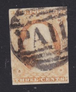 US Sc 10A used 1851 3c orange brown Washington, black PAID in GRID Fancy Cancel