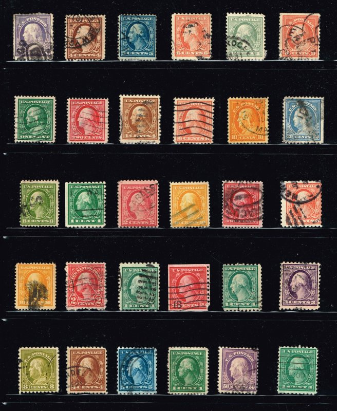 US STAMP WASHINGTON AND FRANKLIN USED STAMPS COLLECTION LOT