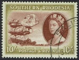 SOUTHERN RHODESIA 1953 QEII PICTORIAL 10/- USED