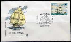 Argentina 1973 Sc#1006 Navy Day Frigate La Argentina/Ship Official FDC