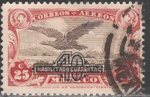 MEXICO C47, 40¢ on 25¢ SURCHARGED EAGLE IN FLIGHT, USED. VF. (1232)