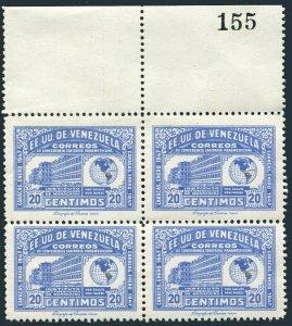 Venezuela 395 block/4-margin,MNH.Michel 454. Anti-tuberculosis Institute,1947.