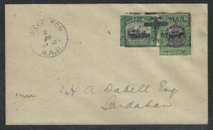 NORTH BORNEO COVER (P0804B) 3C TRAIN 25C  BOX AM NB 1930 KUDAT TO SANDAKAN