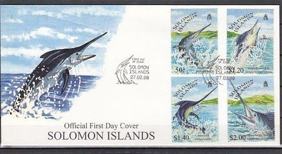 Solomon Is Scott cat. 862-865. Game Fish issue. First Day Cover