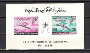 Afghanistan, Scott cat. 519a. World Against Malaria, IMPERF s/sheet.