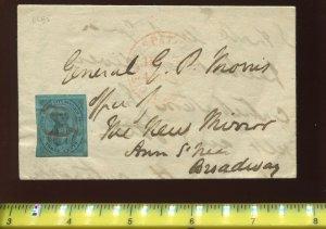 Scott 6LB5b US City Despatch Post Stamp Tied to 1844 Cover w/PF Cert (6LB5-PF3)