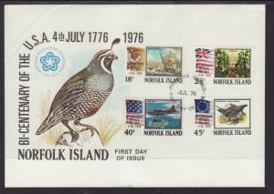 Norfolk Island 194-197 US Bicentennial 1976 U/A FDC
