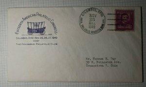 American Philatelic Congress Columbus OH 1949 Philatelic Convention Cachet Cover