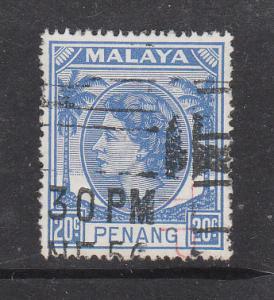 Malaya Penang 1954 Sc 37 QEII 20c Used