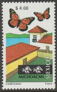 MEXICO 1973, $4.00 Tourism Michoacan, butterflies, lake Mint, Never Hinged F-VF.