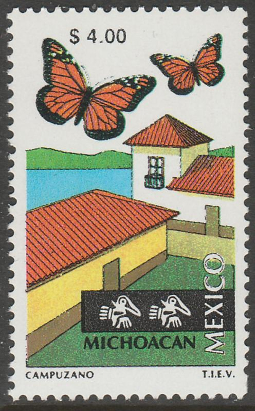 MEXICO 1973 $4.00 Tourism Michoacan, butterflies, lake. Mint, Never Hinged F-VF.