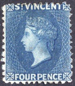 St Vincent 1866 4d Blue Perf 11-13 SG 6 Scott 6 UN Cat £275($357)