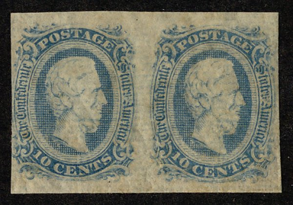 US #CONFEDERATE US #11 VF/XF mint, PAIR,  four nice margins,  usual dry gum, ...