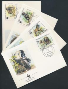 Cameroon stamp WWF Monkies set 4 FDC 1988 Mi 1155-1158 WS181920