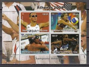 Congo, Dem. 2004 Cinderella issue. Athens Olympics, American Athletes sheet.