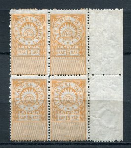 x167 - LATVIA 1919 Issue General Duty REVENUE Stamp Block of 4 Margin. MNH