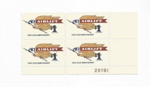 US SCOTT# 1341 PLATE BLOCK OF 4 MLH, OG, $1.00 STAMP