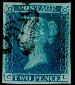 SG14, 2d blue PLATE 3, VERY FINE USED. Cat £275. BLACK MX. 4 MARGINS. CL