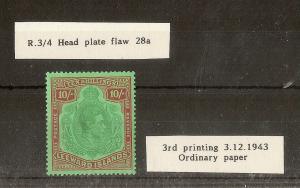 Leewards 1938-51 GVI 10/- Keyplate SG113/shade Mint