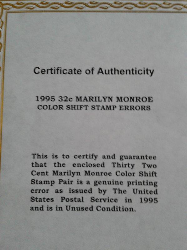 Marilyn Monroe color shift stamps #2967