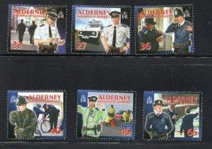 Alderney Sc 215-20 2003 Island Police stamp set mint NH