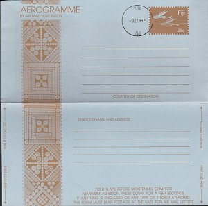 FIJI Flying Fish 25c pictorial aerogramme - Suva cds 1992...................K154