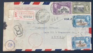 1945 Pointe A Pierre Trinidad & Tobago Airmail Censored Cover To Aruba