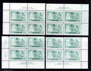 Scott 334, 50c light green, MNH, PB1, Matched Plate Block Set, Canada Postage St