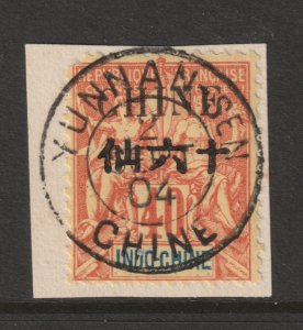 French PO in China a used 40c from 1902 on piece