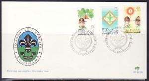 Suriname, Scott cat. B208-B210. 50th Scout Anniversary issue. First day cover. *