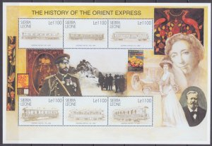 2001 Sierra Leone 3833-3838KL The history of passenger carriages 11,00 €