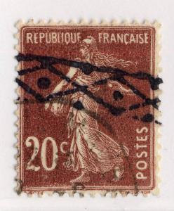 FRANCE - ca.1920-25 - 20c SEMEUSE type 3 OBLITÉRÉE ROULETTE BELGE - TB