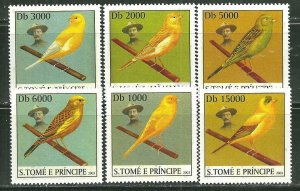 St. Thomas & Prince Islands MNH 1500A-F Song Birds 2003 SCV 9.00