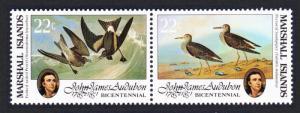 Marshall Is. Birds Audubon pair 22c SG#37-38 SC#64a