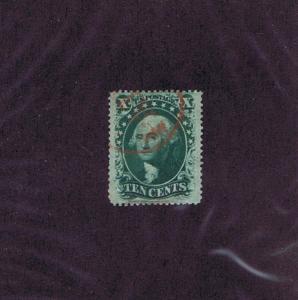 SC# 35 USED 10c WASHINGTON, 1859, PARTIAL RED PAID CANCEL, PSE CERT COPY