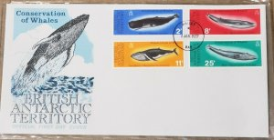 BRITISH ANTARCTIC TERRITORY (BAT) Sc 64-67 issue of 1977 WHALES First Day Cover