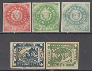 COLLECTION LOT OF #1087 ARGENTINA 5 REPRINT STAMPS 1862+