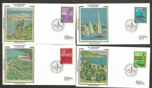 1982 Boy Scouts 75th anniversary Guernsey Colorano silk FDC set
