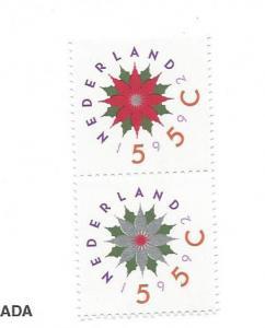 Netherlands, 820a, Christmas Rose Vert. Pair, MNH