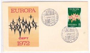 1972 Andorra Spanish, N° 64A, Europa Cept 8 P. Verde And Polychromos Su Env FDC