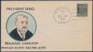 #828 BENJAMIN HARRISON 1833-1901 MAE WEIGAND FDC HANDPAINTED CACHET BS1904