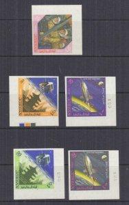 JORDAN, 1965 Space Achievements set of 5, corner imperf., mnh.