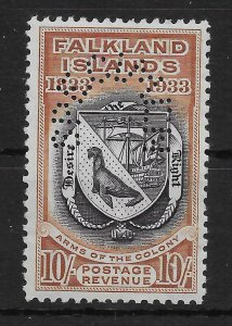 FALKLAND ISLANDS SG137s 1933 CENTENARY 10/= BLACK & CHESTNUT SPECIMEN MNH