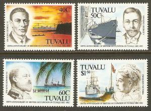 Tuvalu #590-3 NH British Occupation in Tuvalu Anniv.