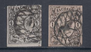 Saxony Sc 9, 10 used 1855 King John I defintivies, sound & attractive