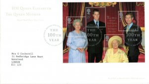 2000 Sg MS2161 Queen Mother 100th Birthday Philatelic Bureau First Day Cover