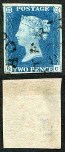 1840 2d Blue (QC) Plate 2 Superb 4 Margins Dorchester Town Cancel Cat 10k
