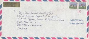 Canada 34c Parliament Buildings (2) 1985 Hamilton, Ont. Airmail to Bombay, In...