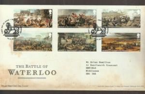 2015 BATTLE OF WATERLOO FDC. DECORATIVE WATERLOO, LIVERPOOL CANCEL