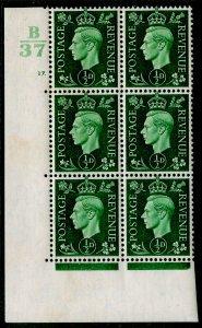 SG462, ½d green, NH MINT.  B37 CYL NO 17 DOT.